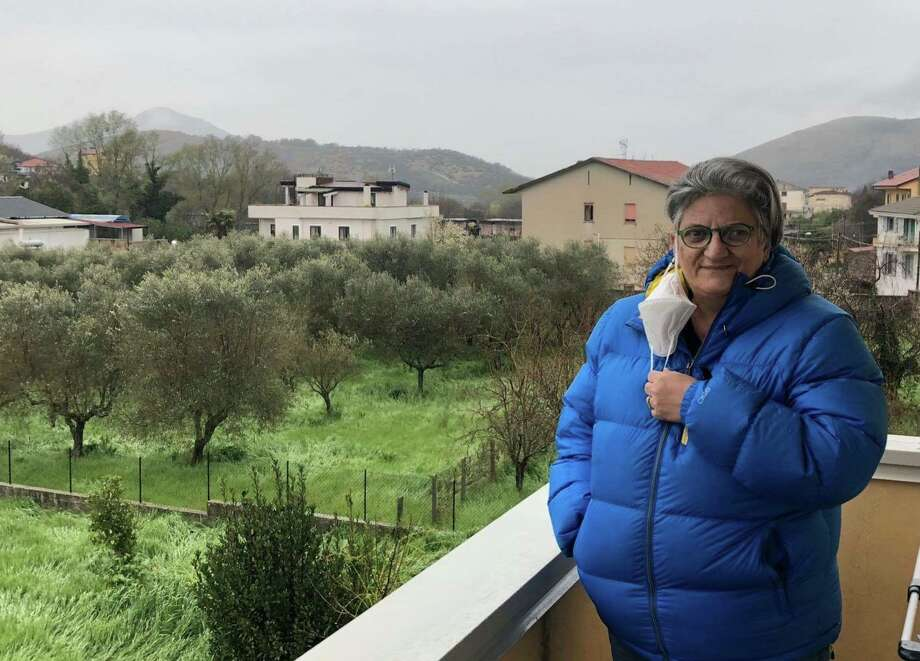 Joann Rubino on her balcony in Castel Morrone. Photo: Conn. Health I-Team /