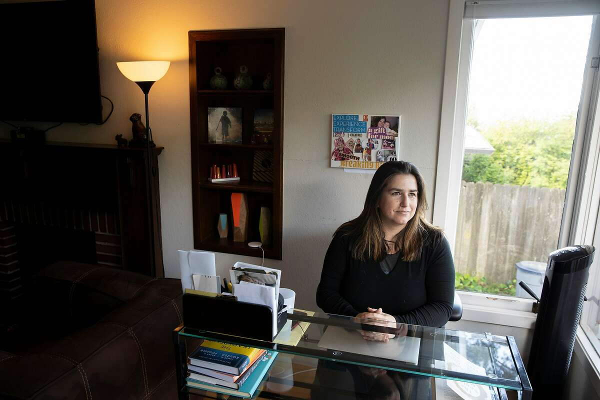 A portrait of Tess Brigham at her home on Thursday, March 26, 2020, in El Cerrito, Calif.