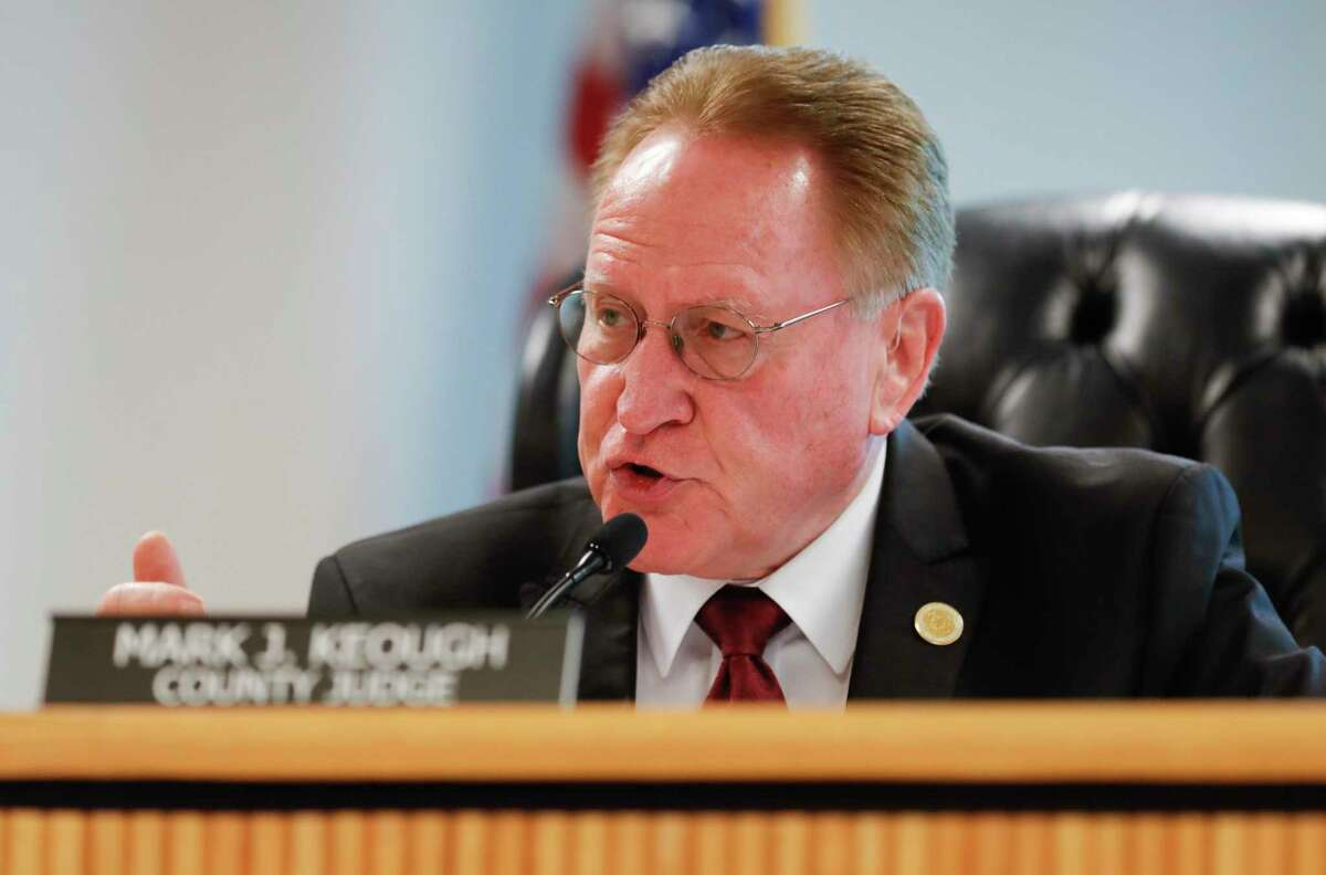 Montgomery County Judge Mark Keough explains his decision not to issue a stay-at-home order during a Montgomery County Commissioners Court meeting, Tuesday, March 24, 2020, in Conroe. Three days later, Keough issued a stay-at-home order and a nightly curfew.