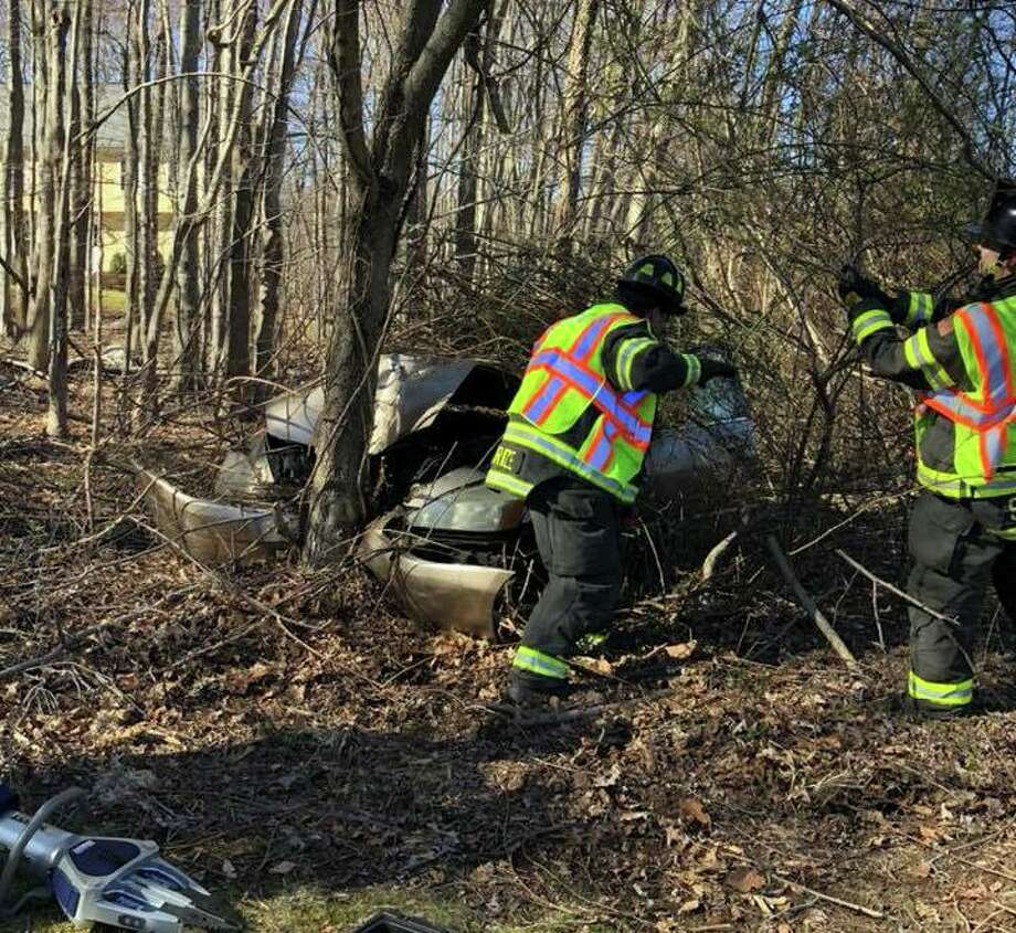 Officials responded to a crash on Monroe Turnpike at Colonial Drive in Monroe, Conn., on Friday, March 27, 2020. Photo: Contributed Photo / Monroe Volunteer Fire Department