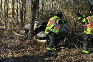 Officials responded to a crash on Monroe Turnpike at Colonial Drive in Monroe, Conn., on Friday, March 27, 2020.