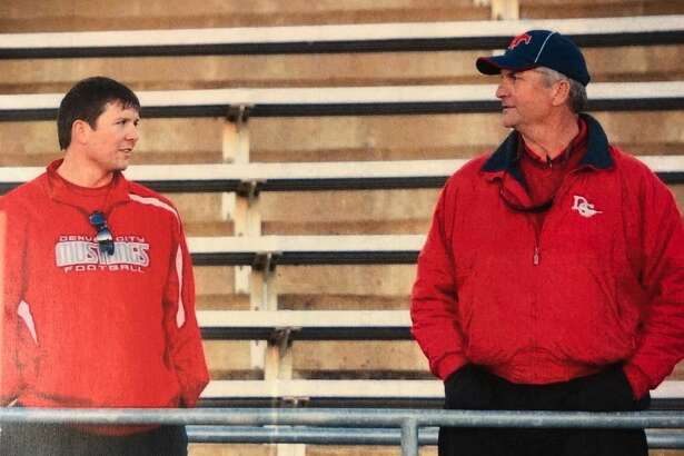 Jarryd Taylor, left, is pictured with his father Steve Taylor in this undated photo when both coached football at Denver City. Jarryd Taylor has just been hired as the Ozona head football coach/athletic director after serving as the Midland High linebackers coach from 2017-present.