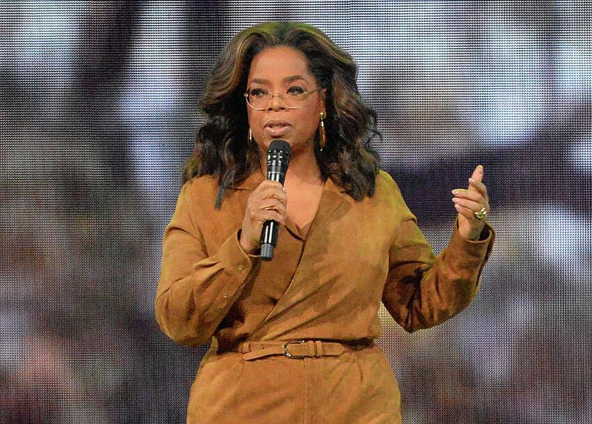 FILE - This Feb. 8, 2020 file photo shows Oprah Winfrey speaking at