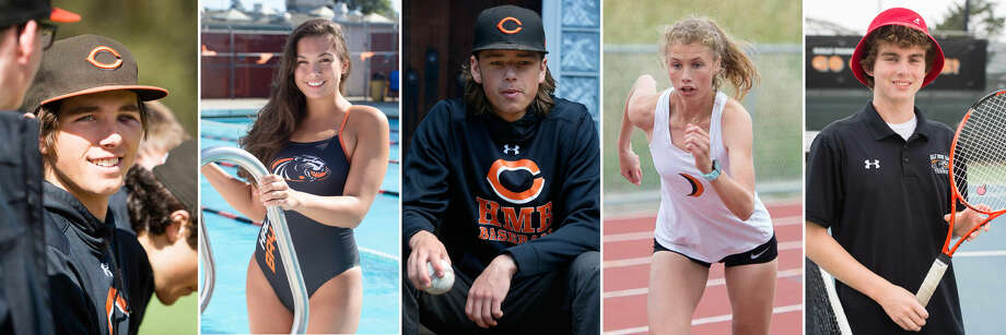 Half Moon Bay athletes, from left: baseball player David Fisher, swimmer Mia Griffiths, baseball player Owen Murray, track and field athlete Claire Yerby and tennis player Phineas Lehan. Photo: Photos By Becky Ruppel And Paul Chin (Murray)