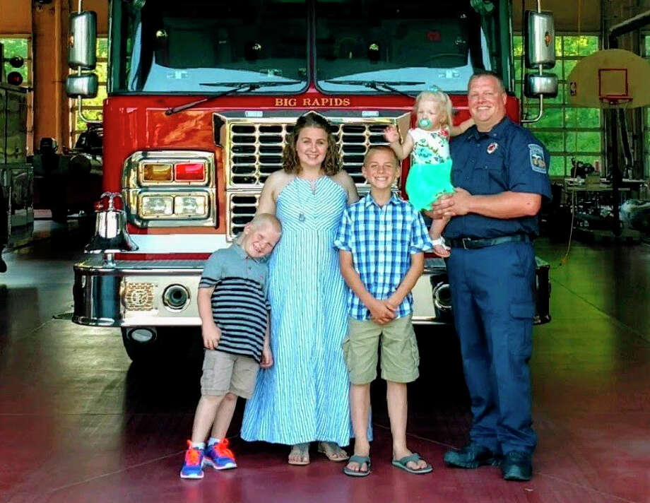 Firefighter Derek Vincent said he loves working with the Big Rapids Department of Public safety and living in the area with his wife and kids. He added he hopes to continue his career and eventually retire from the fire department. Photo: Courtesy Photo