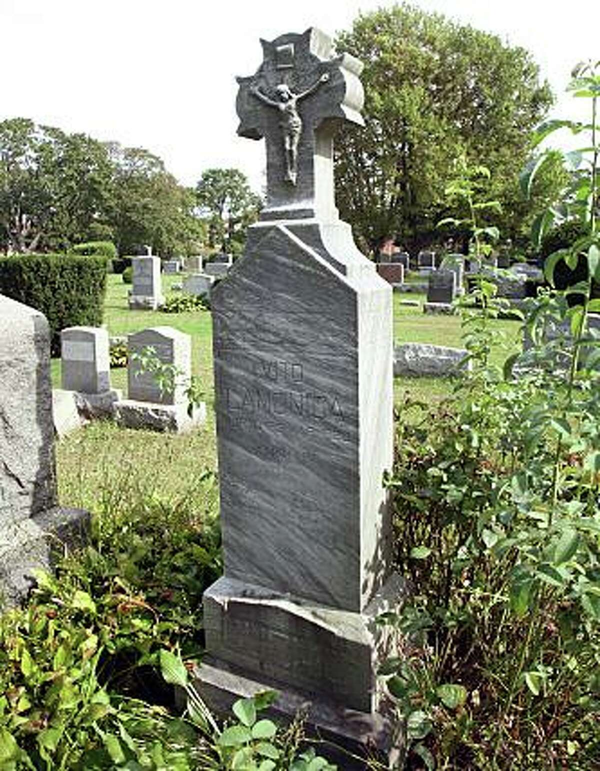 The gravesite of Vito Lamonica in Lakeview Cemetery in Bridgeport, Conn.