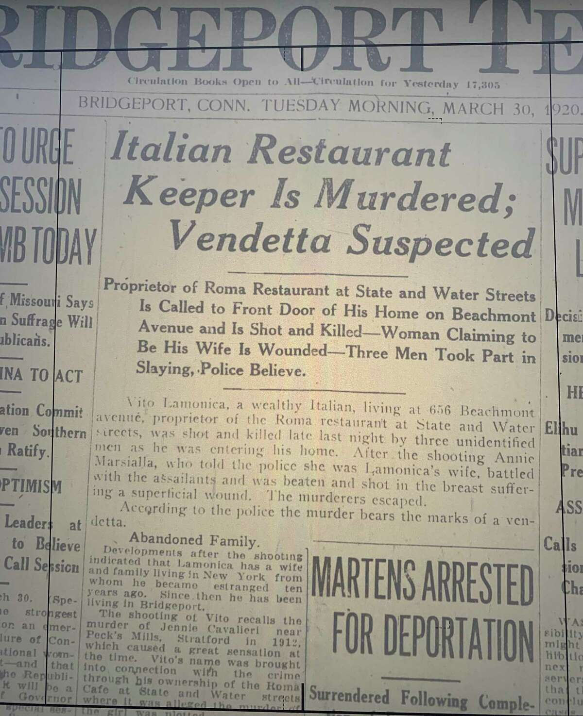 A photo of microfilm of the Bridgeport Telegram from the morning of Tuesday, March 30, 1929, the morning after Vito Lamonica was shot and killed in Bridgeport, Conn. March 29, 2020, marks 100 years since he was killed. His case remains open.