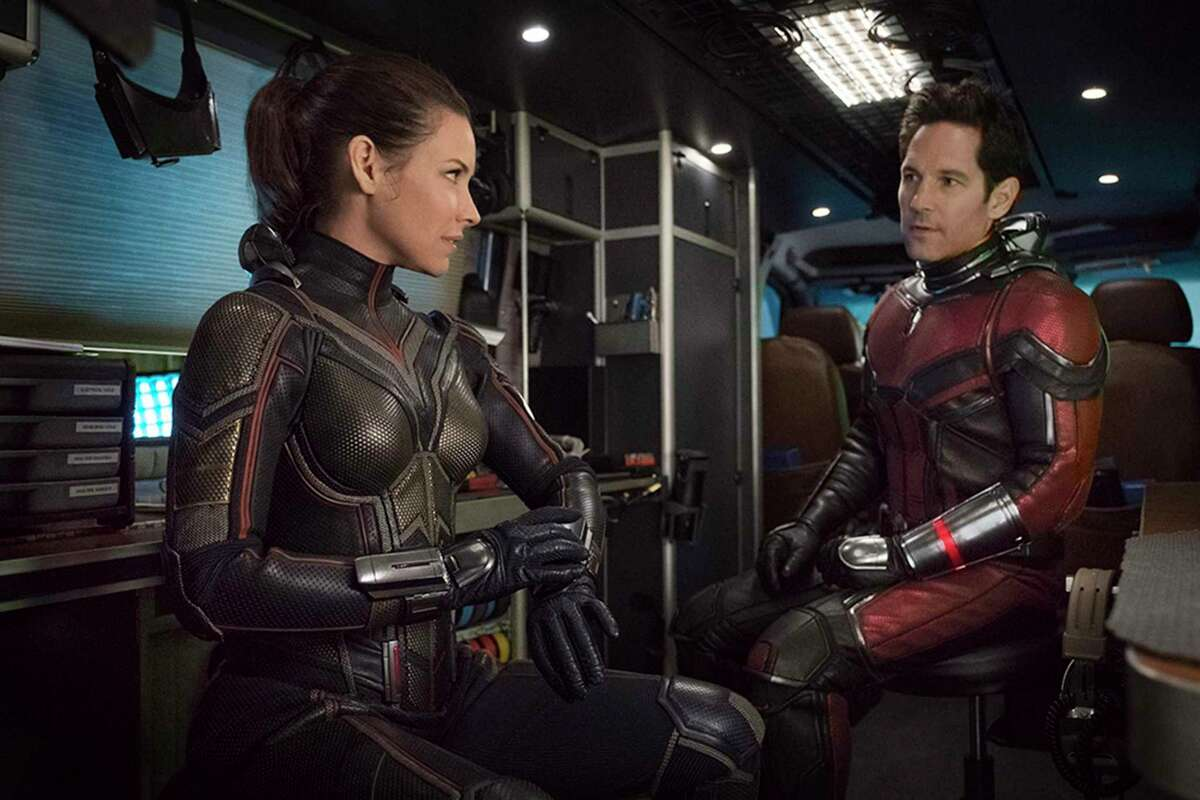 """The Wasp/Hope Van Dyne (Evangeline Lilly, left) joins Ant-Man/Scott Lang (Paul Rudd) in """"Ant-Man and The Wasp."""""""