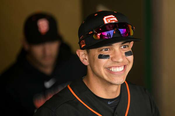 SCOTTSDALE, AZ - FEBRUARY 22: Mauricio Dubon #1 of the San Francisco Giants looks on before a game against the Los Angeles Dodgers on Saturday, February 22, 2020 at Scottsdale Stadium in Scottsdale, Arizona. (Photo by Adam Glanzman/MLB Photos via Getty Images)