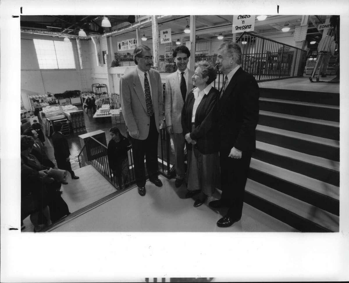 Huck Finn store, Albany, New York - left to right: Jeff Sperber, Reid Sperber, Mr. & Mrs. Ed Sperber, at the grand opening of the new Huck Finn store in downtown Albany. March 29, 1995 (Skip Dickstein/Times Union Archive)