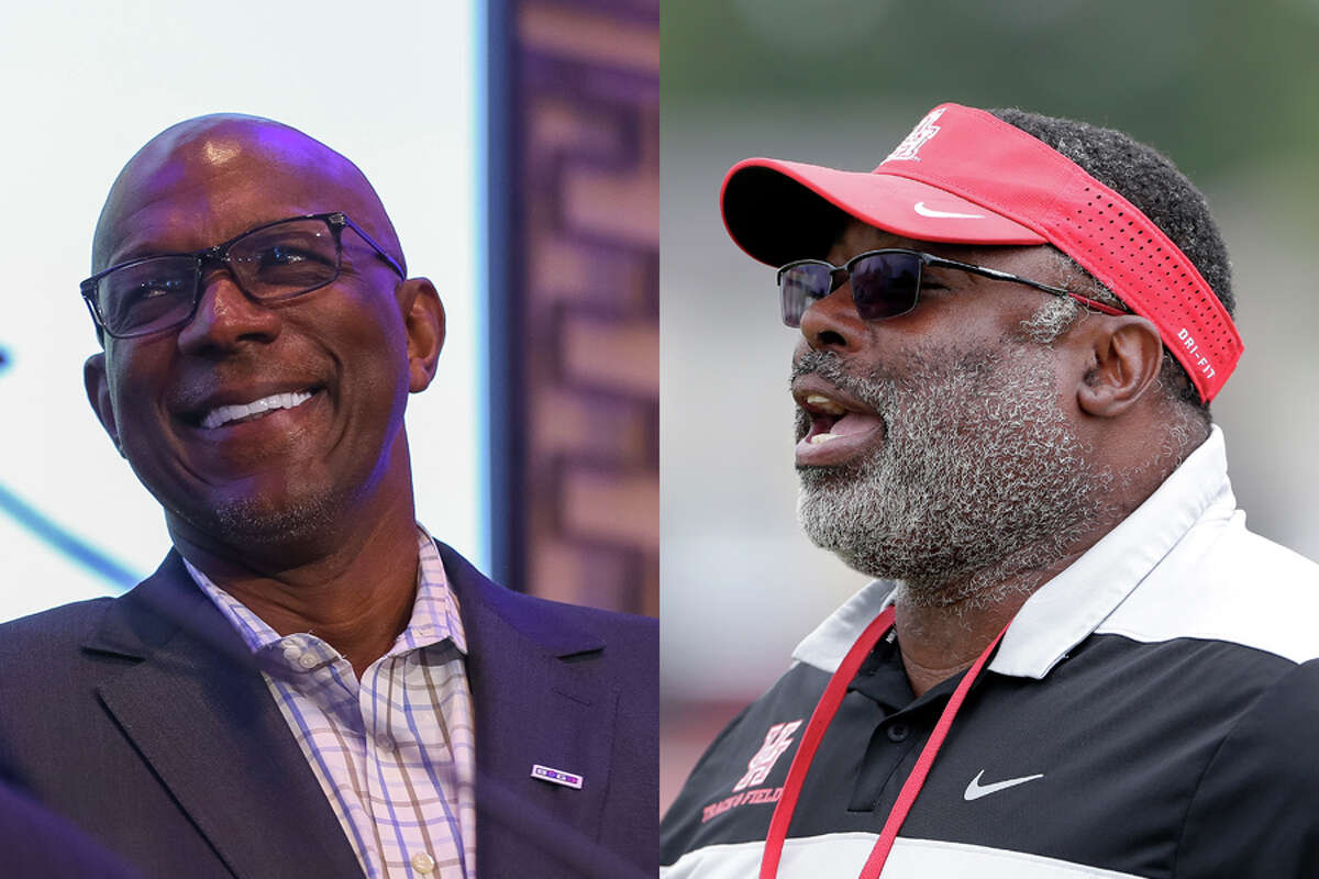 """Clyde Drexler (left) is pitted against Leroy Burrell in a showdown of UH legends to reach the Elite Eight round of our """"Whose Bracket? Coogs' Bracket!"""" tournament."""