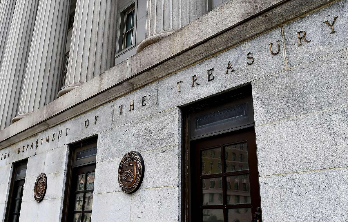 An exterior view of the building of US Department of the Treasury is seen on March 27, 2020 in Washington, DC. - US Treasury Secretary Steven Mnuchin on Friday pledged to quickly send cash to Americans as part of the a massive $2.2 trillion relief package aimed at rescuing the coronavirus-battered economy. (Photo by Olivier DOULIERY / AFP) (Photo by OLIVIER DOULIERY/AFP via Getty Images)