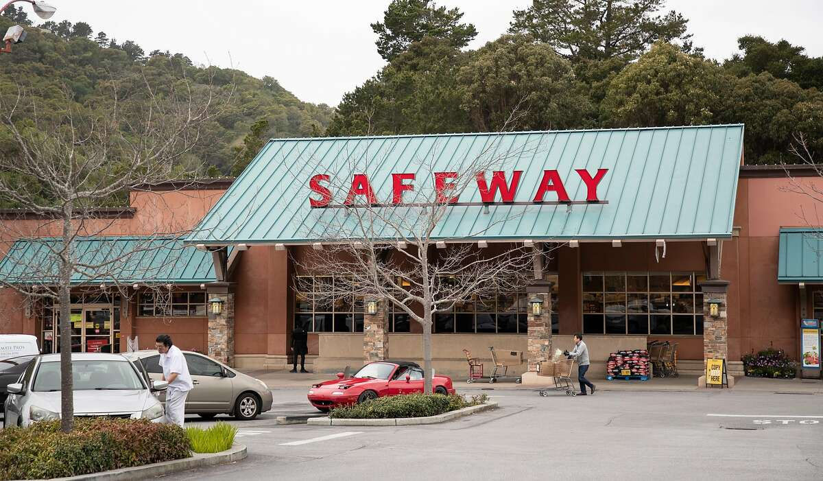 The level shoppers appears somewhat normal at the Crystal Springs Village Safeway Monday, March 23, 2020, in San Mateo, Calif.
