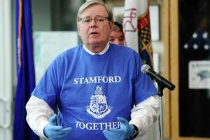 "Mayor David Martin announces ""Stamford Together"", a citywide volunteer program to help support the emergency response efforts related to the Covid-19 pandemic, during a press conference in the lobby of the Stamford Government Center on Wednesday."