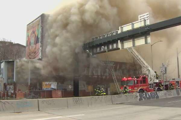 Fire burns abandoned building in Seattle on March 28, 2020 (Seattle Fire Photo)