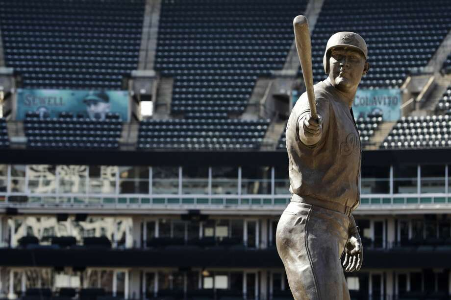A statue of former Cleveland Indians Jim Thome stands in an empty Progressive Field, March 26, 2020, in Cleveland. The Cleveland Indians were scheduled to play the Detroit Tigers in an Opening Day baseball game Thursday but the season has been postponed due to the coronavirus. (AP Photo/Tony Dejak) Photo: Tony Dejak,  Associated Press / Copyright 2020 The Associated Press. All rights reserved.
