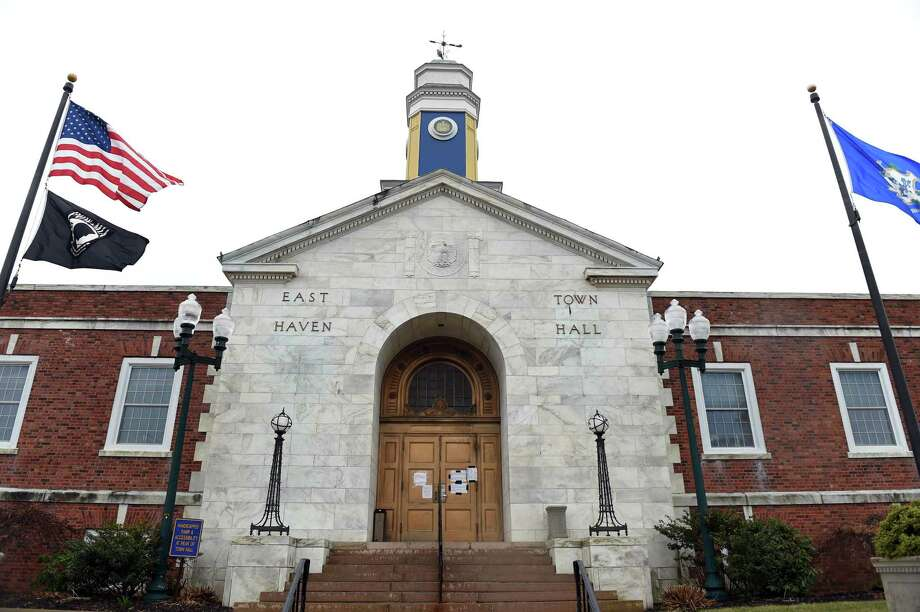 The front entrance to East Haven Town Hall on March 28, 2020. Photo: Arnold Gold / Hearst Connecticut Media / New Haven Register