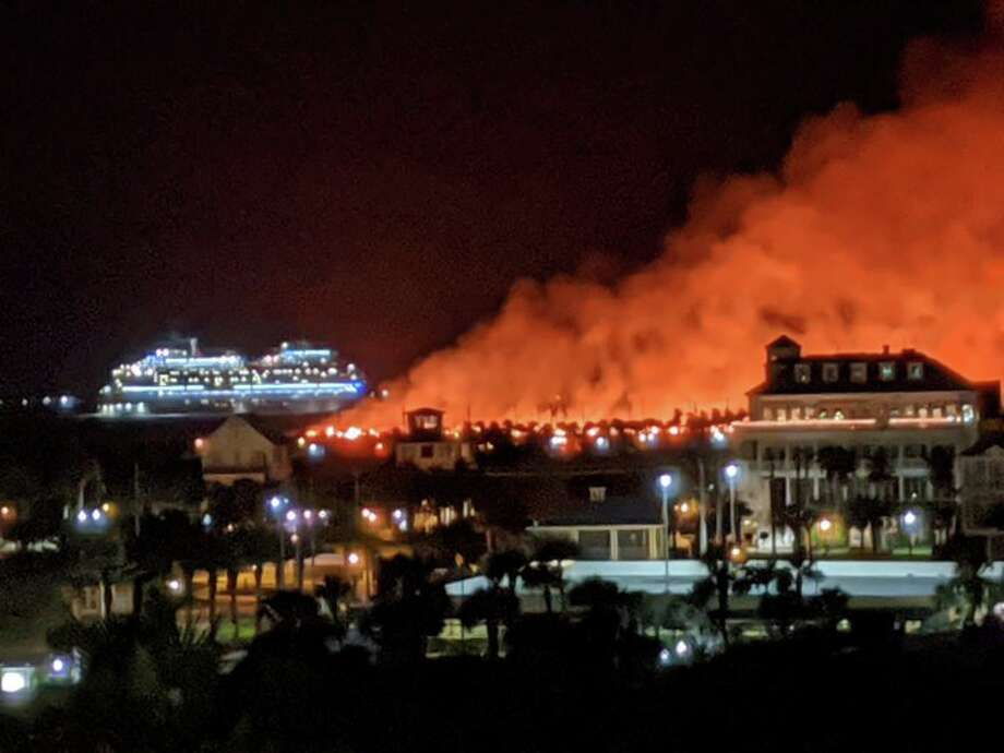 Firefighters are battling a fire on the eastern tip of Galveston Island. Photo: Clark Haptonstall