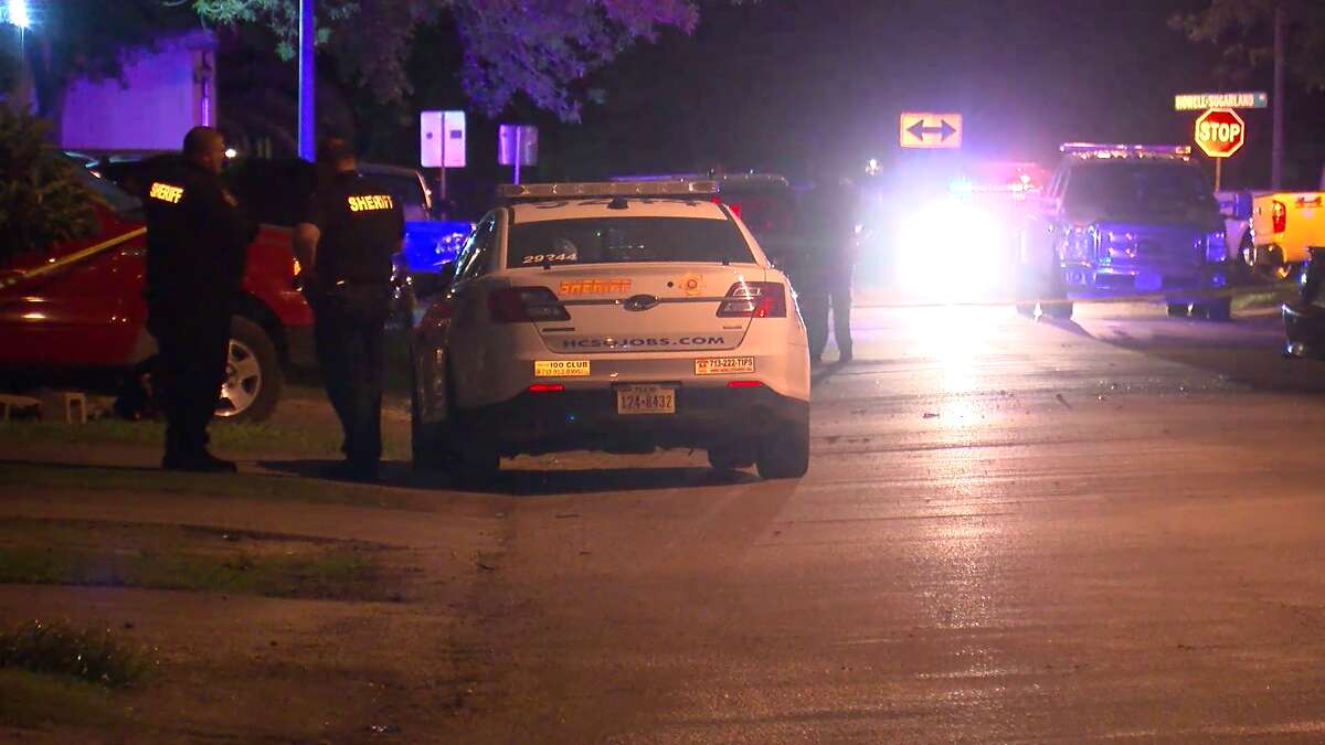 A motorcycle rider died and a man had to be freed from a vehicle in a series of crashes Saturday night across the greater Houston area.