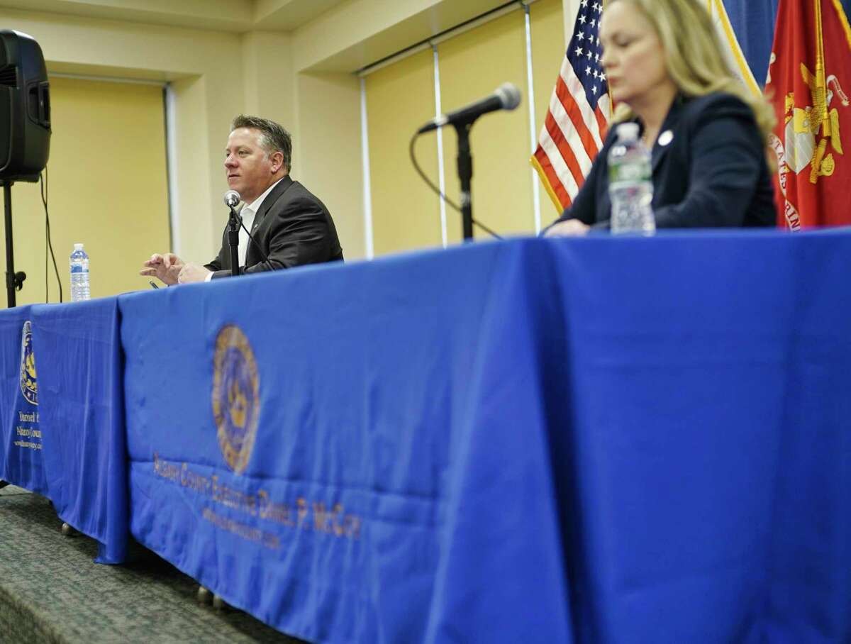 Albany County Executive Dan McCoy, left, and Albany County Department of Health Commissioner Dr. Elizabeth Whalen hold a press conference to discuss coronavirus in Albany County on Sunday, March 29, 2020, in Albany, N.Y. (Paul Buckowski/Times Union)