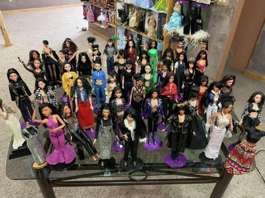 Juan Oyervides from Houston has a huge collection of Selena-inspired dolls. He makes clothes based on classic Selena costumes. Photo: Juan Oyervides