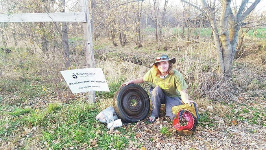 Tanner Aljets joined the social-media organized cleanup at the Watershed Nature Center in Edwardsville. Photo: Courtesty Of RiverbendTrashTagChallenge