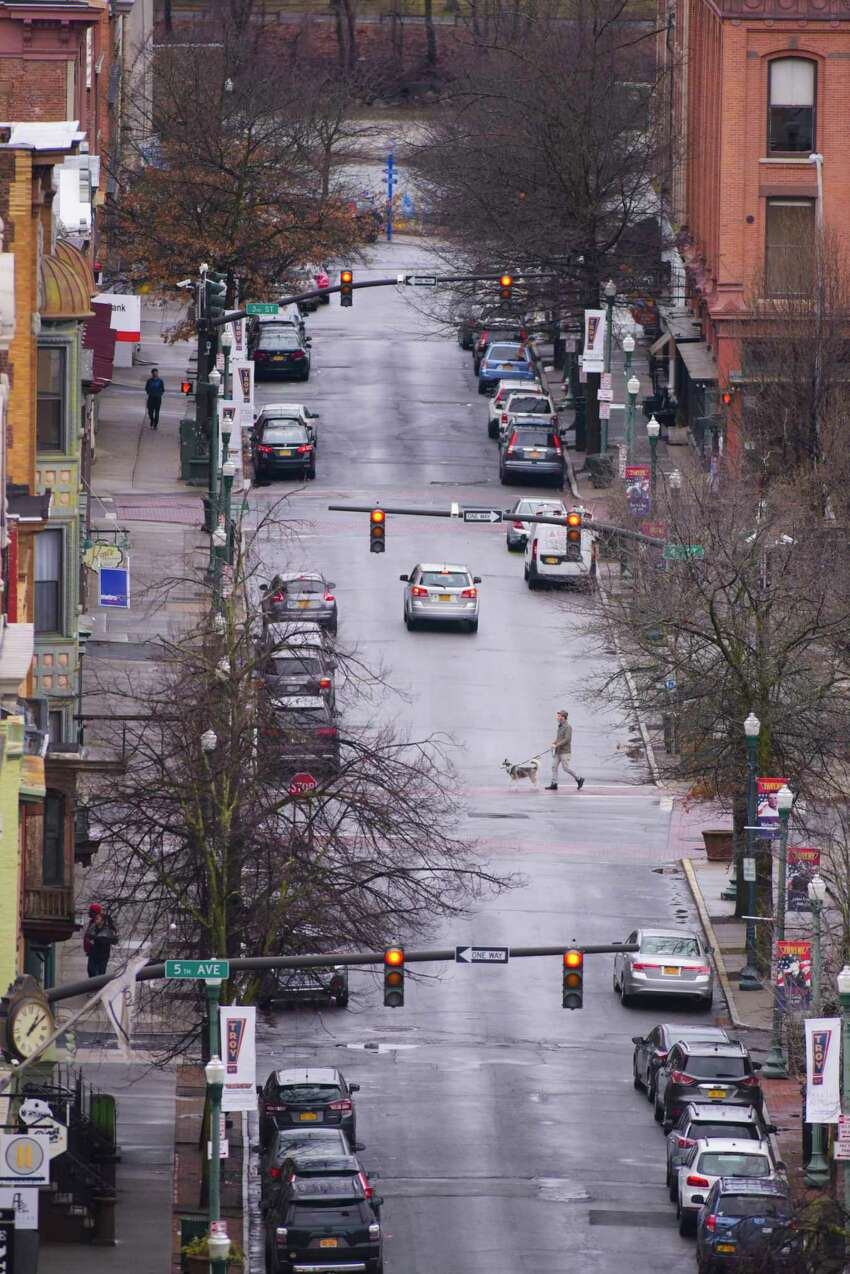 Brace yourself for a gray week. Times Union meteorologist Jason Gough says a storm moving through the region will get stuck off the coast and keep the area covered in clouds for days this week. In this photograph, a view looking down on Broadway on Sunday, March 29, 2020, in Troy, N.Y. (Paul Buckowski/Times Union)