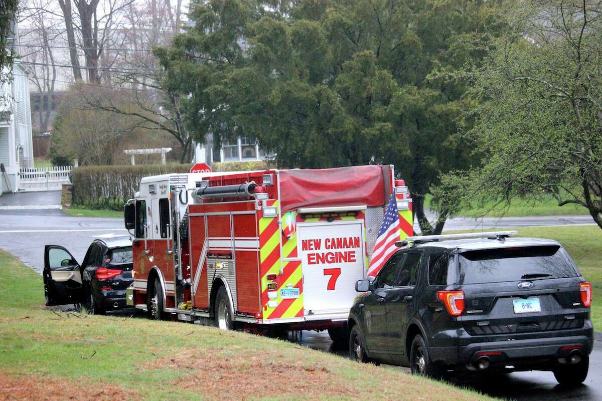 New Canaan police, firefighters, and EMS were among those who showed up in Mead Park on Sunday, March 29, 2020, to welcome 14-year-old Riley Grise home. Grise had open heart surgery in New York City 11 days ago, and was returning to a town dealing with the coronavirus crisis.