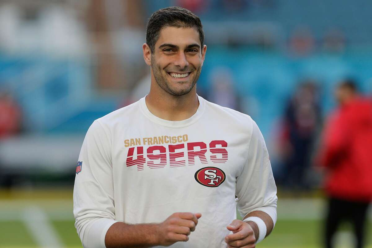 San Francisco 49ers' Jimmy Garoppolo is seen during warm up before Super Bowl LIV between the San Francisco 49ers and the Kansas City Chiefs at Hard Rock Stadium in Miami Gardens, Fla., on Sunday, February 2, 2020.