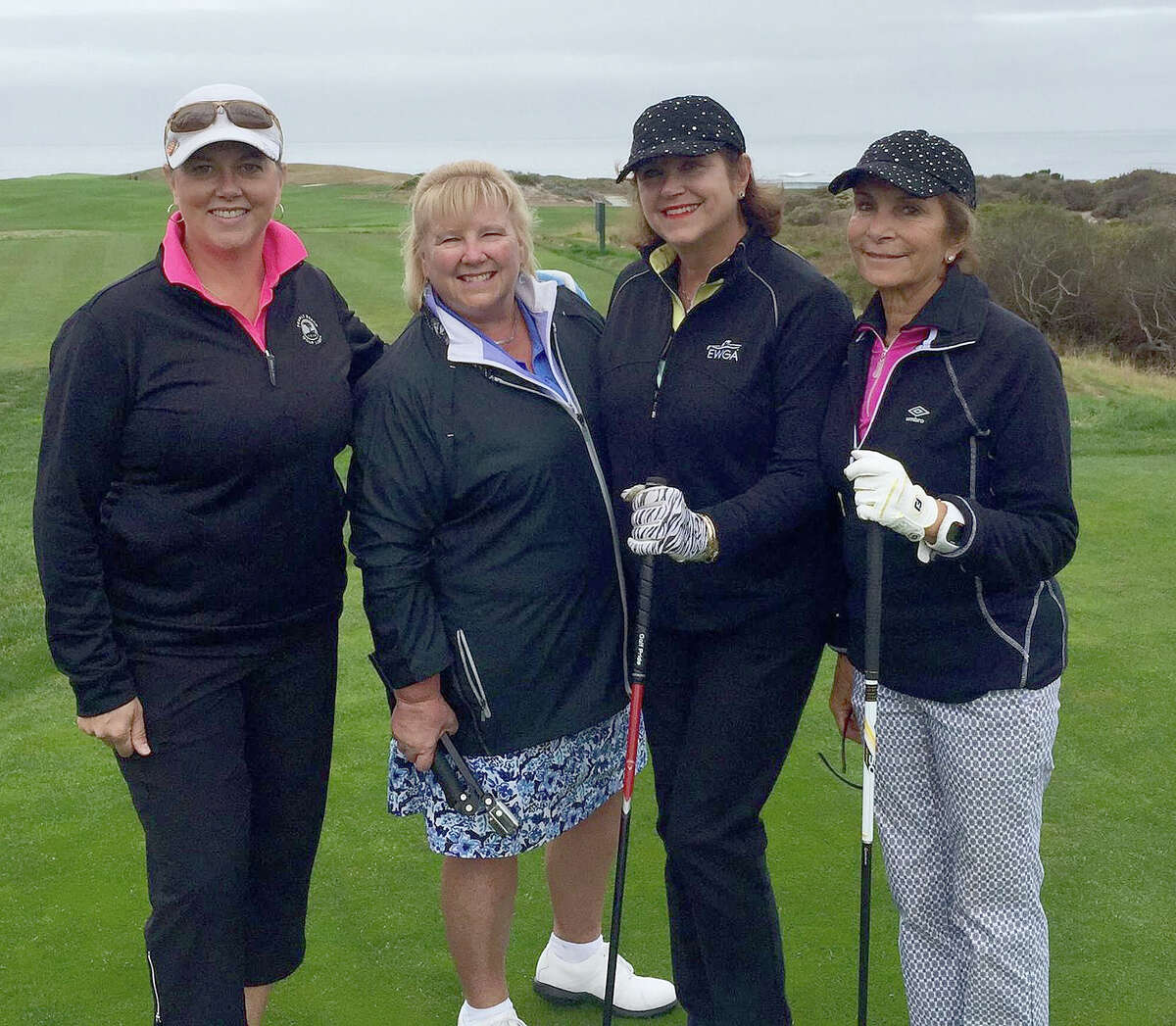 Gail Leonardo Sundling organizes golf trips so women can play on championship courses. Here, Sundling, second from right, joins golf partners, from left, Michelle Walls, Gail Czelusniak and Carol Aiello on a trip to the Monterey Peninsula. (Provided)