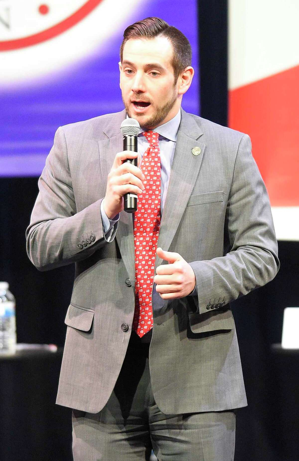 J.R. Romano, chairman of the Republican State Central Committee, shown here at a party debate in 2018, will not seek a fourth two-year term next year.