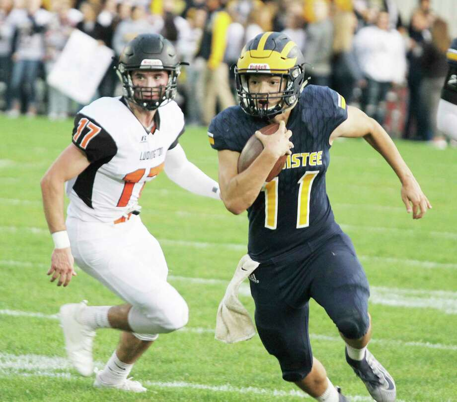 Manistee and Ludington (pictured against each other in a football game this past fall) each reportedly submitted a letter of interest in joining the West Michigan Conference. (News Advocate file photo)