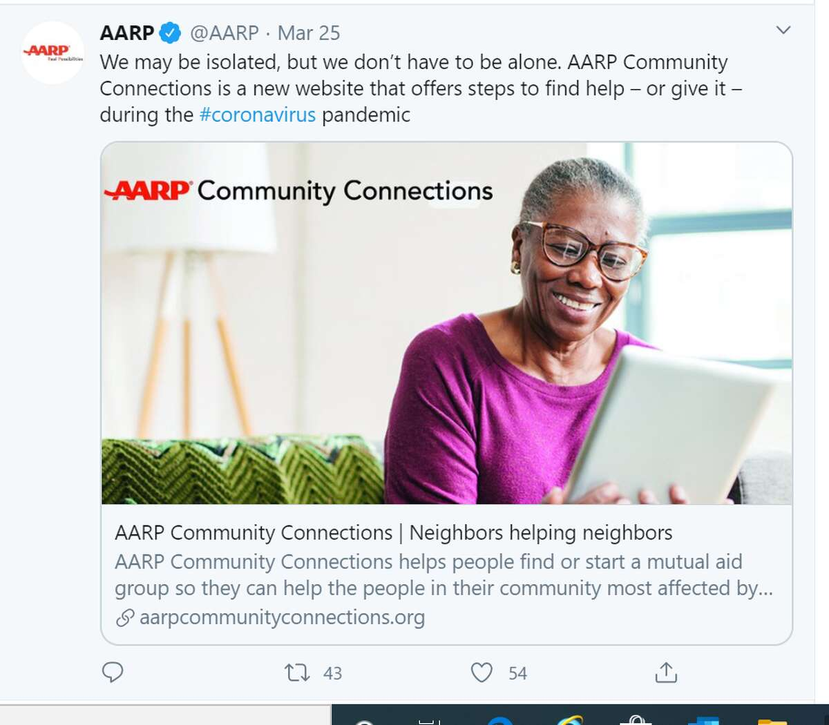 AARP AARP has launched a new online service designed to help volunteers connnect with users to provide the various support needed to those most affected by the COVID-19 outbreak.