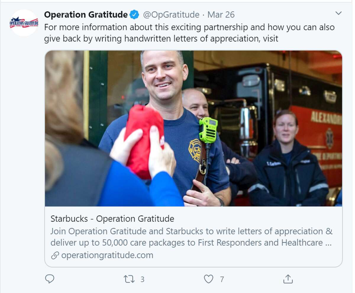 Operation Gratitude Operation Gratitude will deliver up to 50,000 Care Packages along with handwritten letters to First Responders, Health Care Workers, and Military Personnel.