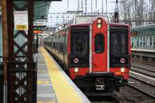 A Metro North train pulls in to the Fairfield Metro station in Fairfield, Conn. on Wednesday, March 25, 2020.