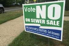 "A 2015 file photo of a lawn sign urging voters to vote ""no"" in an a referendum in Stratford regarding the proposed sale of the town's waste treatment plant."