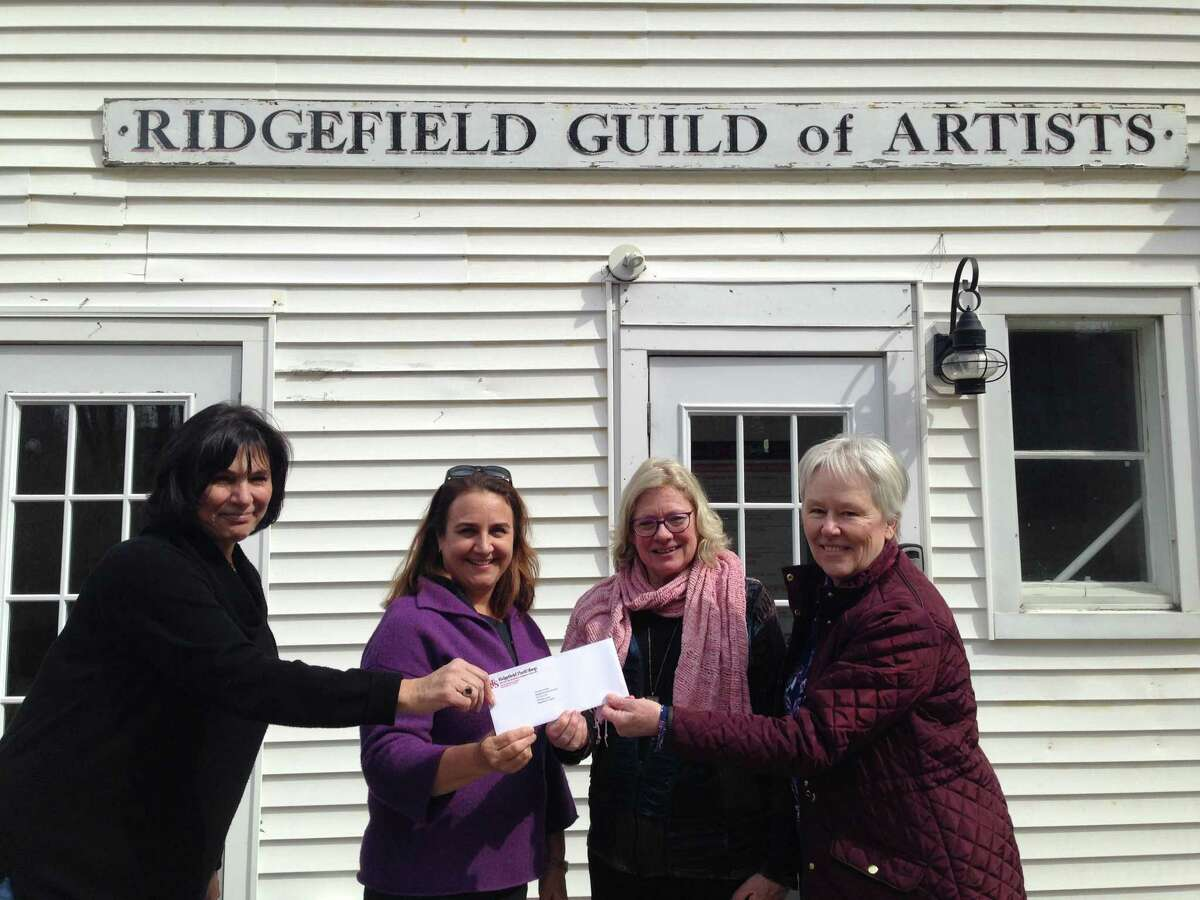 Representatives from the Ridgefield Thrift Shop recently visited the Guild of Artists to award them a grant. Pictured are Patricia Hellman, RTS volunteer; Pam Stoddart, RGOA executive director; Mary Harold, RGOA vice president; and Barb Hillery, RTS volunteer.