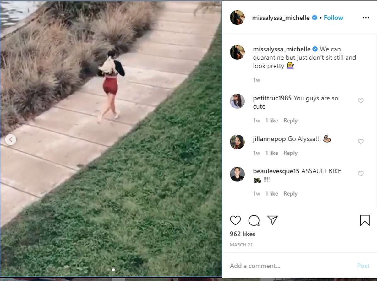 Alyssa Mills, the entrepreneur and wife of Spurs player Patty Mills, has been posting on Instagram about her various workouts in the backyard of her Southtown home since quarantine started.