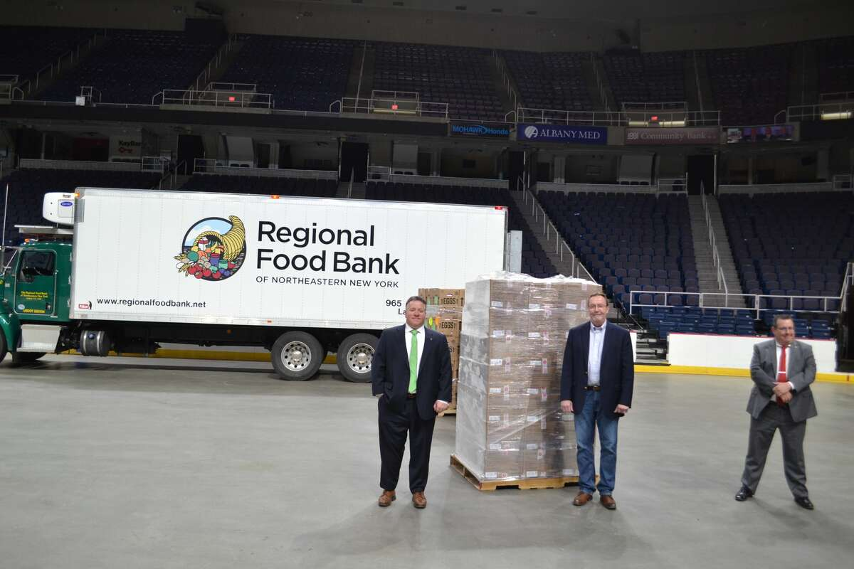 Albany County receives a shipment of more than 19,000 pounds of food from the Regional Food Bank of Northeastern New York to the Times Union Center in Albany on Monday, March 30, 2020. After packages are boxed, they will be shipped out to residents under mandatory and precautionary quarantine starting Tuesday with the help of the New York National Guard.