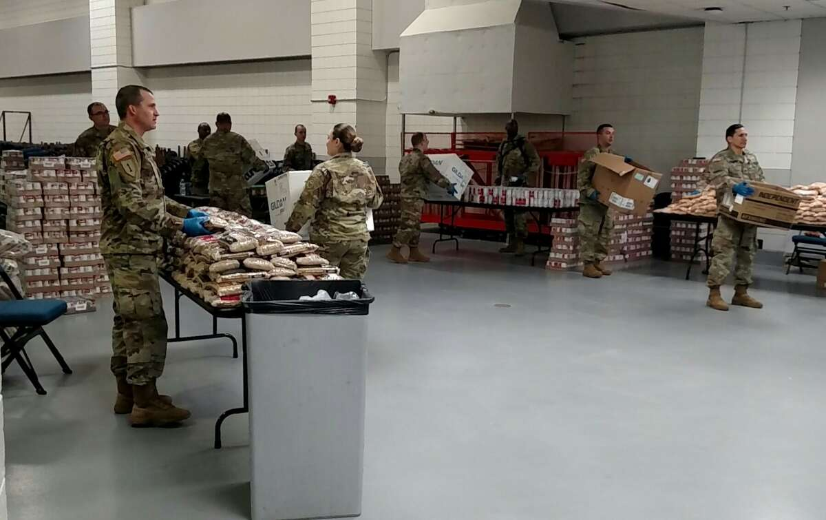 Albany County received a shipment of more than 19,000 pounds of food from the Regional Food Bank of Northeastern New York to the Times Union Center in Albany on Monday, March 30, 2020. After packages are boxed, they will be shipped out to residents under mandatory and precautionary quarantine starting Tuesday with the help of the New York National Guard.