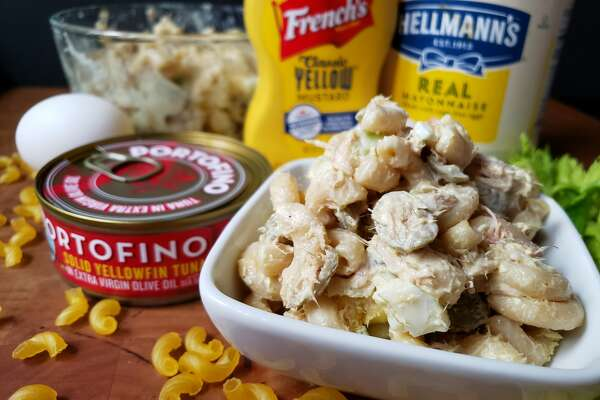 "The Fox Family Macaroni Salad recipe includes canned tuna and ""salad olives,"" green Spanish olives with pimento."