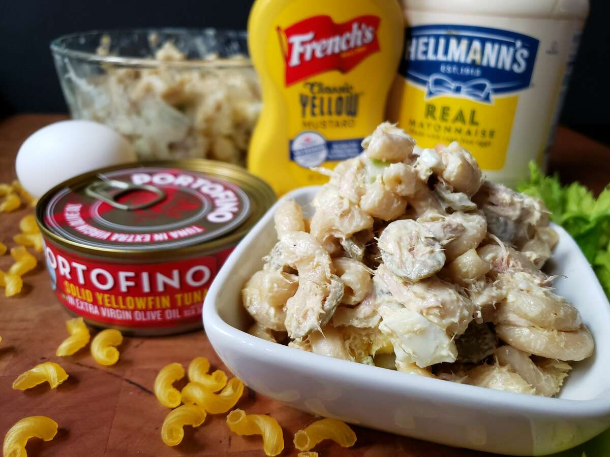 The Fox Family Macaroni Salad recipe includes canned tuna and