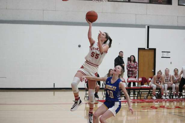 Benzie's Ellen Bretzke scores on a layup during a victory over Buckley.