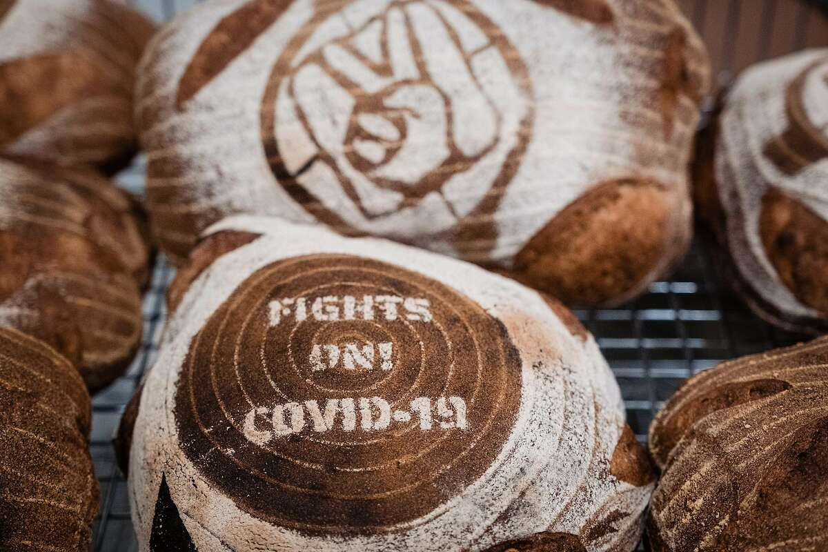A close up of baked bread at Daily Driver in San Francisco, Calif. on Saturday March 28, 2020. The Bagel spot has been preparing breakfasts to be delivered to Hospital workers at UCSF as a part of Feed the Line