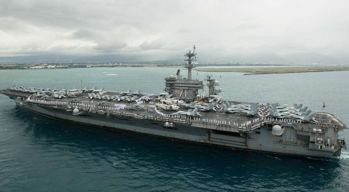 Aircraft carrier USS Theodore Roosevelt (CVN 71) arrives in Pearl Harbor, Hawaii, April 27, 2018. Image courtesy Petty Officer 3rd Class Jessica Blackwell / Navy Public Affairs Support Element Detachment Hawaii.