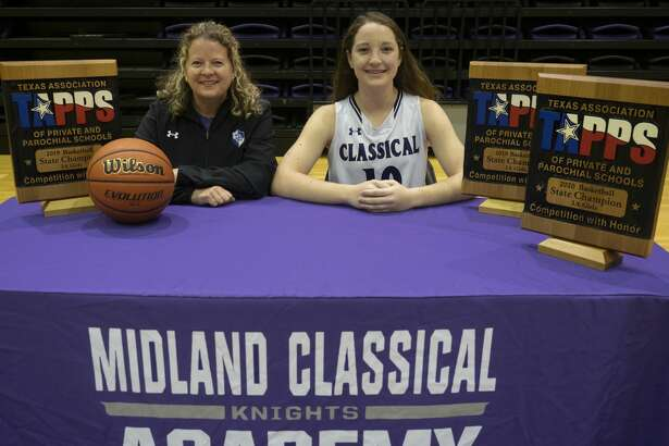 Midland Classical Academy head girls basketball coach Carla Cunneen and player Leia Beattie are the MRT coach and player of the year. 03/30/2020 Tim Fischer/Reporter-Telegram
