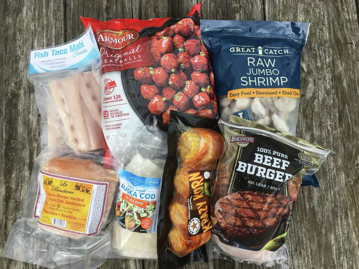 There is a large assortment of frozen foods that range from seafood options to bagged pre-made hamburgers.