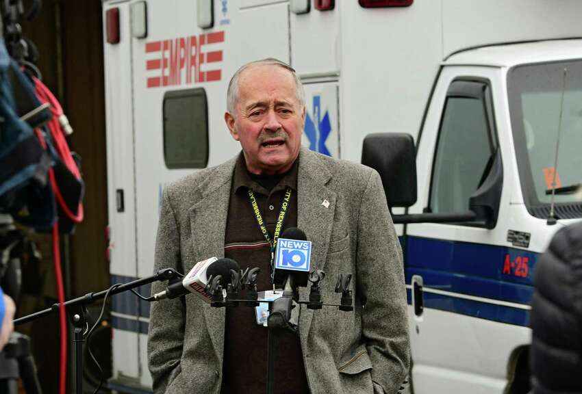 Rensselaer Mayor Mike Stammel speaks to reporters during a press conference outside an Empire Ambulance garage on Monday, March 30, 2020 in Rensselaer, N.Y. Stammel has entered into an agreement with Empire Ambulance that would have an Advanced Life Support (ALS) staffed ambulance stationed in Rensselaer 24/7. (Lori Van Buren/Times Union)