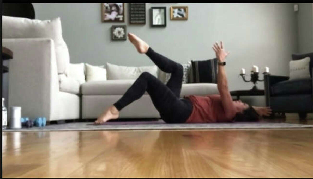 A screen capture image of another client exercising via livestream through The Pilates Barre. The studio closed on March 20.