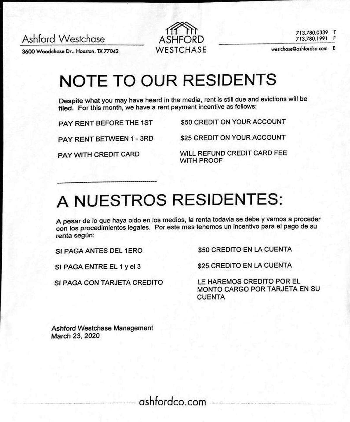 A notice posted at the Ashford Westchase Apartments.